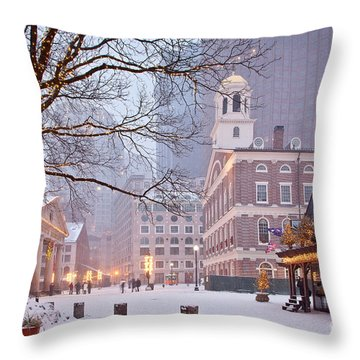 Faneuil Hall In Snow Throw Pillow by Susan Cole Kelly