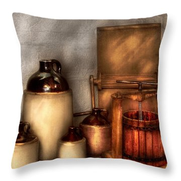 Farm - Bottles - Let's Make Some  Apple Juice Throw Pillow by Mike Savad