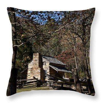 Farm Cabin Cades Cove Tennessee Throw Pillow by Douglas Barnett