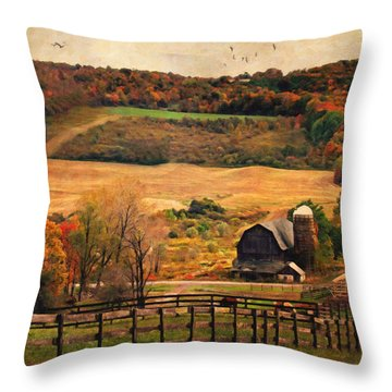Farm Country Autumn - Sheldon Ny Throw Pillow by Lianne Schneider