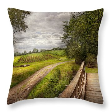 Farm - Landscape - Jersey Crops Throw Pillow by Mike Savad