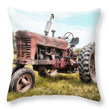 Farmall Tractor Dream - Farm Machinary - Industrial Decor Throw Pillow by Gary Heller