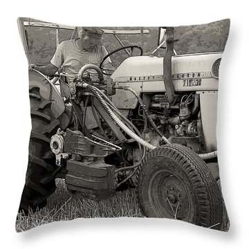 Farmer And His Tractor Throw Pillow by Kathleen Struckle