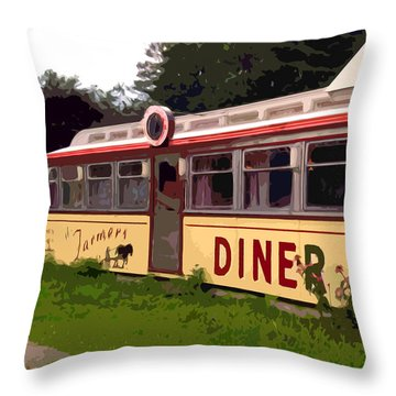 Farmers Diner Throw Pillow by Jean Hall