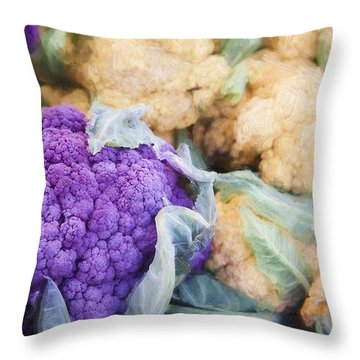 Farmers Market Purple Cauliflower Throw Pillow by Carol Leigh