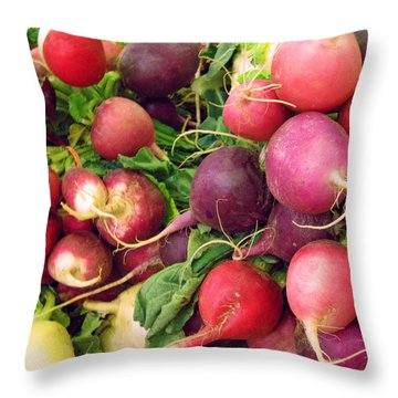 Farmers' Market Radishes Throw Pillow by Jean Hall