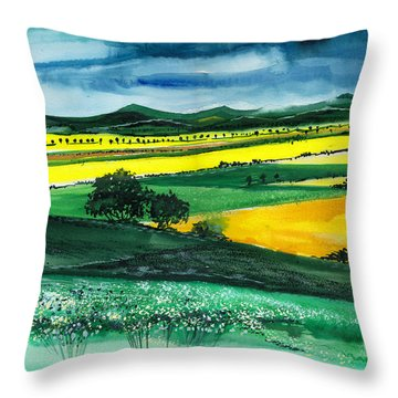 Farmland 1 Throw Pillow by Anil Nene