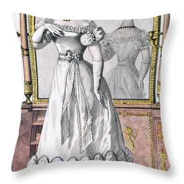 Fashion Plate Of A Lady In Evening Throw Pillow by English School
