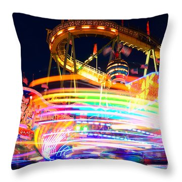 Fast Ride At The Octoberfest In Munich Throw Pillow by Sabine Jacobs