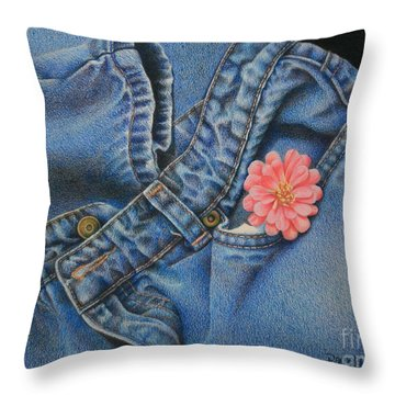 Favorite Jeans Throw Pillow by Pamela Clements