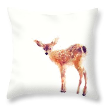 Fawn Throw Pillow by Amy Hamilton