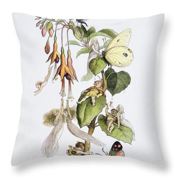 Feasting And Fun Among The Fuschias Throw Pillow by Richard Doyle