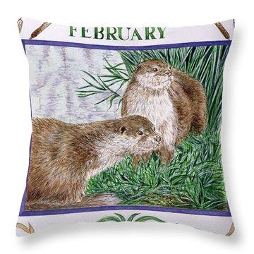 February Wc On Paper Throw Pillow by Catherine Bradbury