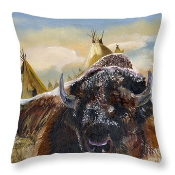 Feed The Fire Throw Pillow by J W Baker