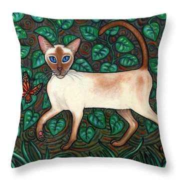Felina And The Monarch Throw Pillow by Linda Mears
