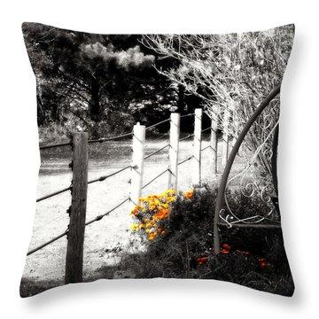 Fence Near The Garden Throw Pillow by Julie Hamilton