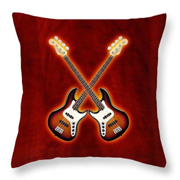 Fender Jazz Bass Lefty Throw Pillow by Doron Mafdoos