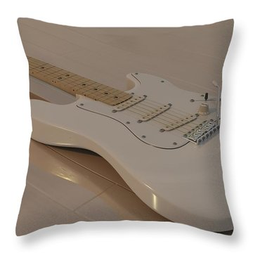 Fender Stratocaster In White Throw Pillow by James Barnes