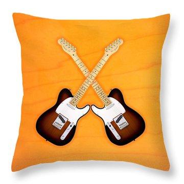 Fender Telecaster Sunburst Throw Pillow by Doron Mafdoos