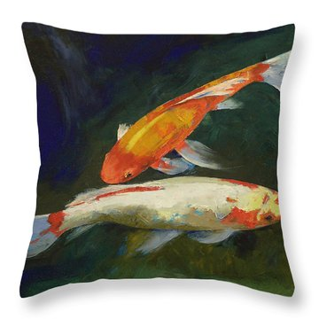 Feng Shui Koi Fish Throw Pillow by Michael Creese