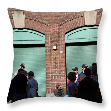 Fenway Park - Fans And Locked Gate Throw Pillow by Frank Romeo