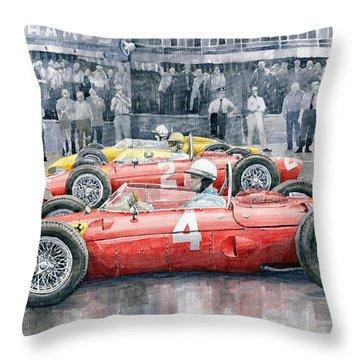 Ferrari 156 Sharknose 1961 Belgian Gp Throw Pillow by Yuriy Shevchuk