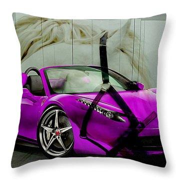 Ferrari Raw Horse Power Throw Pillow by Marvin Blaine
