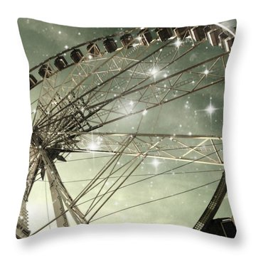 Ferris Wheel At Night In Paris Throw Pillow by Marianna Mills