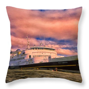 Ferry Dockside At Cold Bay Throw Pillow by Michael Pickett