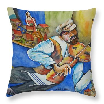 Fiddler On The Roofs Throw Pillow by Guri Stark