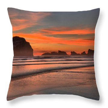 Fiery Ripples In The Surf Throw Pillow by Adam Jewell