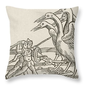 Fight Between Pygmies And Cranes. A Story From Greek Mythology Throw Pillow by English School