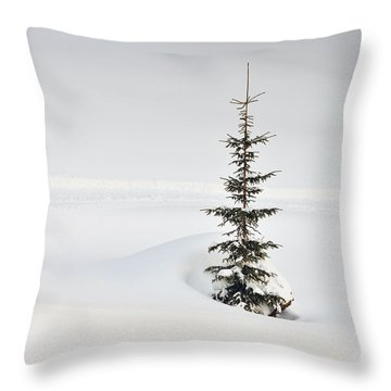 Fir Tree And Lots Of Snow In Winter Kleinwalsertal Austria Throw Pillow by Matthias Hauser