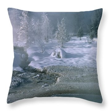 Fire And Ice - Yellowstone National Park Throw Pillow by Sandra Bronstein