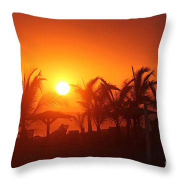 Fire Ball Sunset Throw Pillow by Bob Hislop