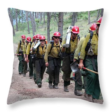Throw Pillow featuring the photograph Fire Crew Walks To Their Assignment On Myrtle Fire by Bill Gabbert