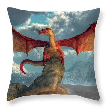 Fire Dragon Throw Pillow by Daniel Eskridge