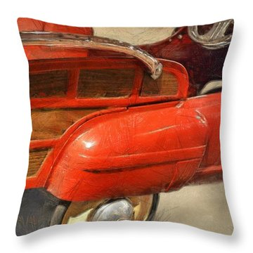 Fire Engine Pedal Car Throw Pillow by Michelle Calkins