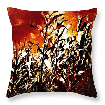 Fire In The Corn Field Throw Pillow by Gaspar Avila