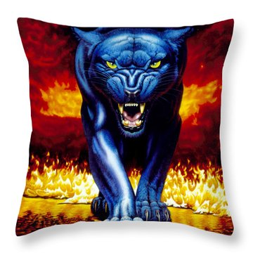 Fire Panther Throw Pillow by MGL Studio - Chris Hiett