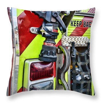 Fire Truck - Keep Back 300 Feet Throw Pillow by Paul Ward