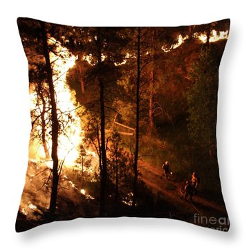 Throw Pillow featuring the photograph Firefighters Burn Out On The White Draw Fire by Bill Gabbert