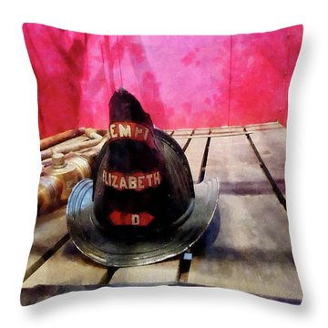 Fireman - Fire Helmet In Fire Truck Throw Pillow by Susan Savad