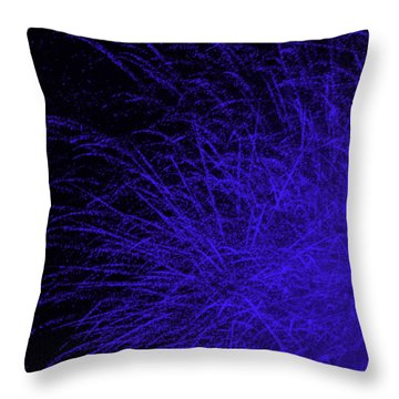 Fireworks In Blue Throw Pillow by Jacqueline Russell