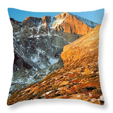 First Light At Longs Peak Throw Pillow by Eric Glaser