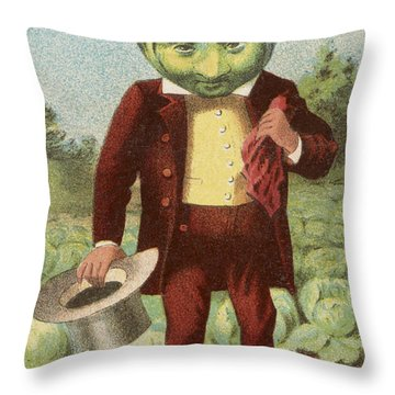 First Premium Cabbage Head Throw Pillow by Aged Pixel