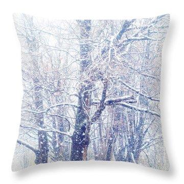 First Snow. Dreamy Wonderland Throw Pillow by Jenny Rainbow