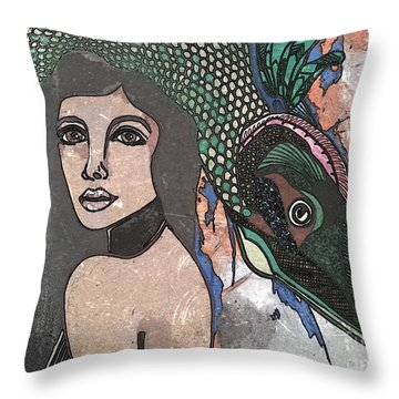 Fish Head Woman Throw Pillow by Amy Sorrell