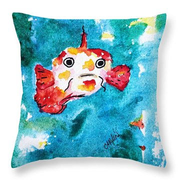 Fish Traveler - Abstract Throw Pillow by Carlin Blahnik