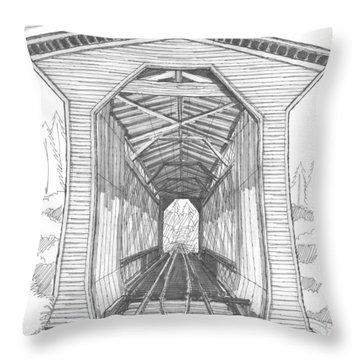 Fisher Railroad Covered Bridge Throw Pillow by Richard Wambach